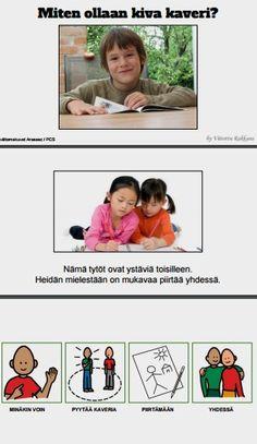 Tarinassa harjoitellaan ja pohditaan kaveruutta. Miten voi päästä leikkeihin mukaan ja miten leikissä käyttäydytään? Aspergers, Social Skills, Classroom Management, Special Education, Problem Solving, Projects To Try, Language, Ads, Teaching