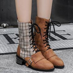 Christmas Specials Women Boots Ankle Heels Sturdy Heel Lace Up Fabric Nubuck Fabric Anti-Slip Rubber Women Lace Up Neutral Black Autumn Winter Casual PU Sturdy Heel appr Chunky Heel Pumps, Low Heel Sandals, Ankle Heels, Lace Up Ankle Boots, Pumps Heels, Heeled Boots, Stiletto Heels, Cool Boots, Suede Leather