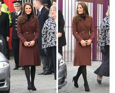 Kate Middleton Wears A Hobbs Coat On Her Visit To The Prince's Trust Charity In Grimsby