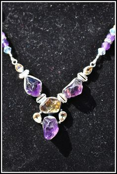 Stunning SS Raw Amethyst & Citrine Focal Amulet with Citrine and Amethyst Beading Amulet by TimelessTalismans on Etsy