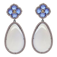 Sutra diamond, blue sapphire and grey agate drop earrings