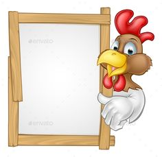 Buy Cartoon Chicken Rooster Sign by Krisdog on GraphicRiver. A cartoon chicken rooster character pointing at a sign or giving a thumps up towards it Cartoon Rooster, Farm Cartoon, Chicken Drawing, Chicken Art, Chicken Logo, Chicken Houses, Rooster Silhouette, Inkscape Tutorials, Cartoon Chicken