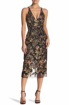 e78f382844 Dress the Population Margo Plunge Neck Sequin Midi Dress 2019