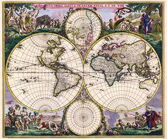 World Map Petrus Plancius 1594. Vintage Historical Maps Old Large Map XL Size