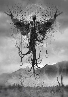 teschio angelo albero