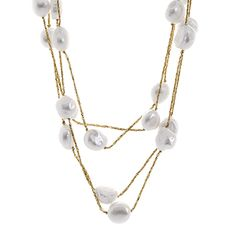Fresh Water White Pearl Station Necklace Of 100 Inch - 1868061 at TJC. Station Necklace, Mixed Metals, Pearl White, Fresh Water, Pearl Necklace, Layering Necklaces, Bling, Pearls, Gemstones