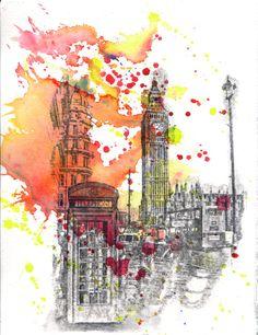 London England Big Ben Landscape  Original 85 X 11 in by idillard, $45.00