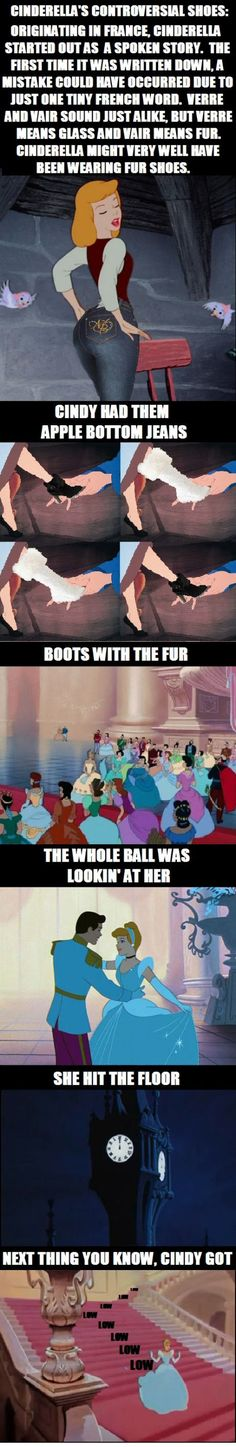 Cinderella's controversial shoes. I really cannot stop laughing.
