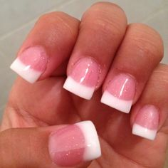 Glitter pink and white nails