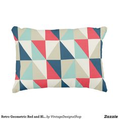 Retro Geometric Red and Blue Triangles Pattern Accent Pillow