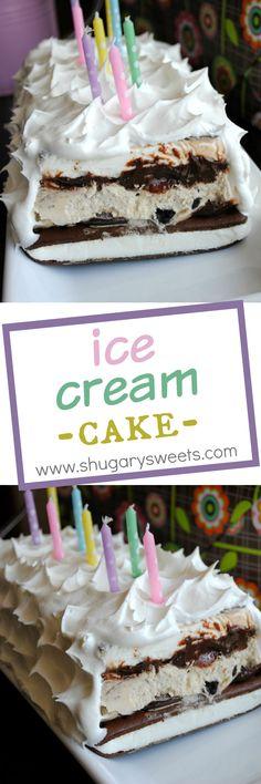 Ice Cream Cake: easy cake made from ice cream sandwiches, hot fudge ...