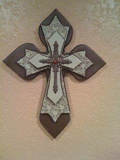 Handmade layered wood cross Wooden Crosses, Crosses Decor, Wall Crosses, Painted Crosses, Decorative Crosses, Wood Crafts, Diy Crafts, Cross Wall Decor, Sign Of The Cross