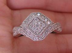 New S8 10K 1/2ct Diamond Vintage Milgrain Engagement Promise Ring White Gold