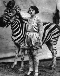 tattooed lady with her zebra