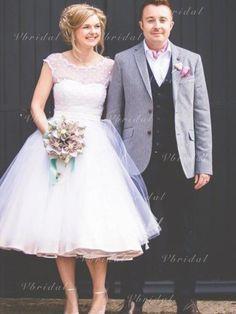 Short Wedding Dresses A-line Scoop Lace Tea-length Tulle Bridal Gown - Sunny Erin - Tea Wedding Dresses, Tea Length Wedding Dress, Affordable Wedding Dresses, Tea Length Dresses, Perfect Wedding Dress, Tulle Wedding, Cheap Wedding Dress, Bridal Gowns, Gold Wedding