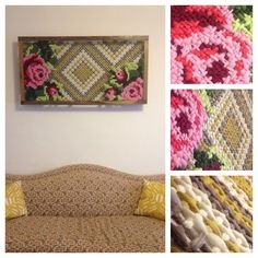 Loosecille created this double layer cross stitch with pegboard and wire mesh. Looks real good! http://www.reddit.com/r/crafts/comments/2atnsg/large_scale_double_layer_cross_stitch/