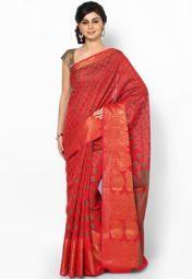 Faux Chanderi Cotton Banarasi Red Saree
