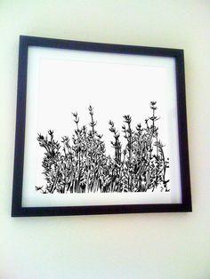 Orange thyme print black and white nature by Sketchariffic