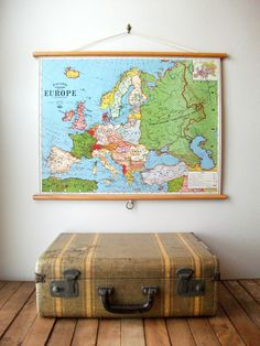 Kortkartellet poster europe multi special edition 50 x 70 cm world map 1897 vintage pull down reproduction canvas fabric or paper print oak wood hanger and brass hardware organic finish gumiabroncs Gallery