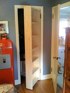 Replace the closet door with a bookcase