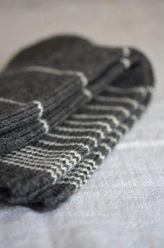 Grey and cream striped wool socks