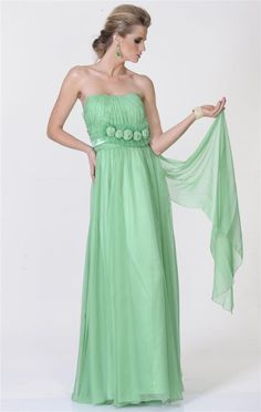 Vestido longo verde tomara que caia, drapeado no busto com apliques de flores. Cod. 00586