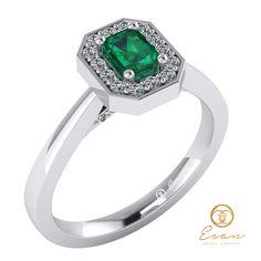 Inel de logodna din aur cu smarald si diamante ES150 Aur, Engagement Rings, Jewelry, Jewellery Making, Wedding Rings, Jewerly, Jewelery, Commitment Rings, Jewels