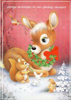Alte Ansichtskarte 80er Jahre Bambi Reh von CuteEyeCatchers auf Etsy