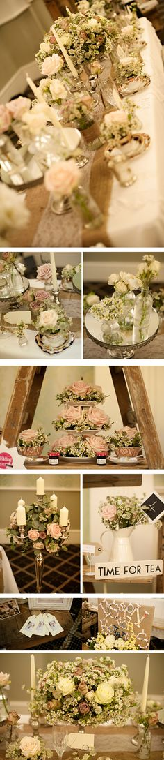 flowers at vintage chic wedding. Love the table runners with burlap and lace