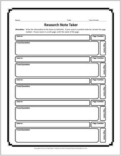Note Taking For Research Graphic Organizer  Printables