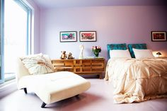 Lilac room by Marlene Barnett Lilac Room, Earthy Home, Side Tables Bedroom, Carpet Design, Blue Pillows, Decoration, Bedroom Furniture, Designer, Interior Decorating