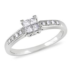 1/4 CT. T.W. Princess-Cut Quad Diamond Engagement Ring in 10K White Gold - Zales