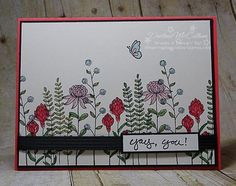 Flowering Fields - www.dreamingaboutrubberstamps.com - Flowering Fields is one of the stamps earned free with a $60 purchase during Stampin' Up! Canada's Sale-a-bration. Add some color with markers for a super easy card.