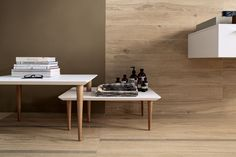 bio timber: Wood look full-body porcelain tiles, matching with faux wood decors, treated with antimicrobial technology Microban®.