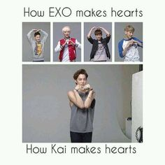 Kai is speshul. He don't have to make hearts the mainstream way. He's too COOL For that. XD