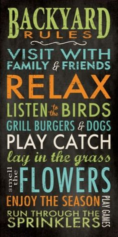 Interior Wall Art :: Block Mounted Message Boards :: Word Print Inspirational Sign Backyard Rules -
