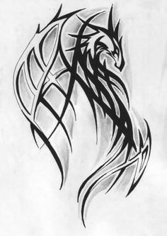 Tribal Dragon Tattoo Sketch                                                                                                                                                                                 Más