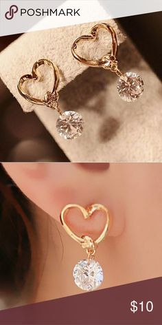 Cute Heart-Shaped Earrings Gold earrings Jewelry Earrings