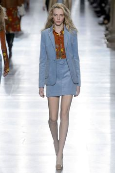 Corduroy is fighting for fabrication of Fall with velvet and this light blue skirt suit is score one for the former.   - HarpersBAZAAR.com