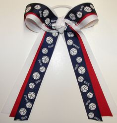 Volleyball Blue Red White Ponytail Holder Bow