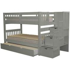 Bedz King Stairway Grey Wood Twin Bunk Bed with 3-Drawer Step Ladder and Trundle Bed | Overstock.com Shopping - The Best Deals on Kids' Beds