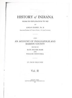 eBook - The History of Indiana from its exploration to 1922 - Logan Esarey (Internet Archive)