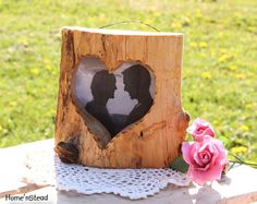 Rustic Wood Picture Frame Heart Shaped Personalized by HomenStead