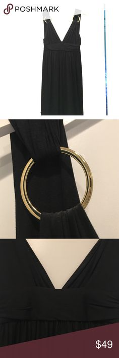 Milly LBD with Gold Ring Straps Very chic! Gold rings at the shoulders make this little black dress pop. Low-cut design is made with a heavy jersey fabric for maximum comfort. Has been worn once to a wedding. Milly Dresses Mini