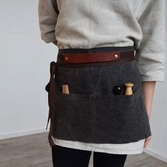 The Mayla Apron made from hand waxed Irish linen, reclaimed leather from a local leathersmith and copper rivet details. A seriously… Hand Wax, Irish, Apron, Copper, Leather, Fashion, Moda, Irish Language, Fashion Styles