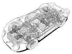 1967-68 Alfa Romeo Tipo 33/2 Fleron cutaway by Vic Berris