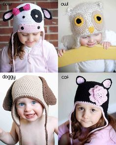 Animal Hat Crochet Patterns Collection 2 Cat by adrienneengar, $15.00