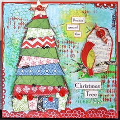 12 Days of Christmas Mixed Media Canvas, Day 1 - One Bird Christmas Mix, Christmas Canvas, 12 Days Of Christmas, Christmas Crafts, Mixed Media Collage, Mixed Media Canvas, Holiday Tree, Christmas Tree Decorations, Watercolor Trees