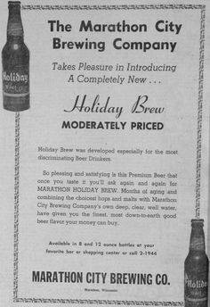 """Dec. 23, 1955 - Marathon City Brewing Company advertisement in the Wausau Daily Record-Herald. """"Holiday brew - moderately priced."""""""