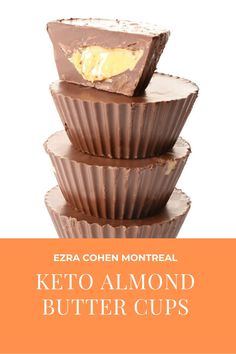 These Keto almond butter cups are the perfect indulgence. Made with all natural almond butter, no refined sugar and sugar free chocolate these cups are Keto-friendly! Almond Butter Cups Recipe, Nut Butter, Healthy Treats, Yummy Treats, Sugar Free Dark Chocolate, Coconut Oil Spray, Sugar Alternatives, Mini Muffins, Montreal